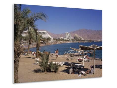 Beach and Hotels, Eilat, Israel, Middle East-Simanor Eitan-Metal Print