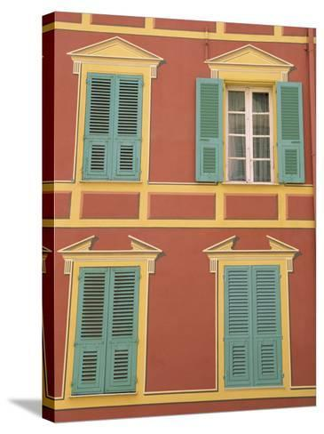 Exterior of a Formal Fa�e with Blue Shutters and Orange Walls, Ajaccio, Corsica, France-Thouvenin Guy-Stretched Canvas Print