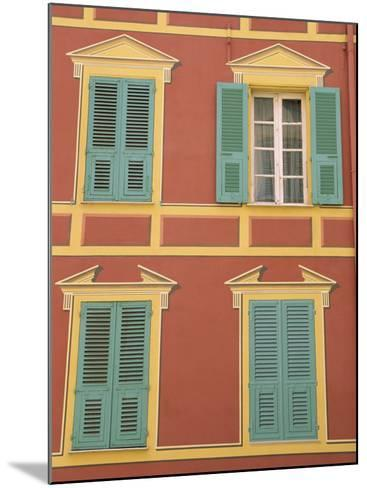 Exterior of a Formal Fa�e with Blue Shutters and Orange Walls, Ajaccio, Corsica, France-Thouvenin Guy-Mounted Photographic Print