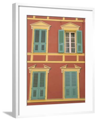 Exterior of a Formal Fa�e with Blue Shutters and Orange Walls, Ajaccio, Corsica, France-Thouvenin Guy-Framed Art Print