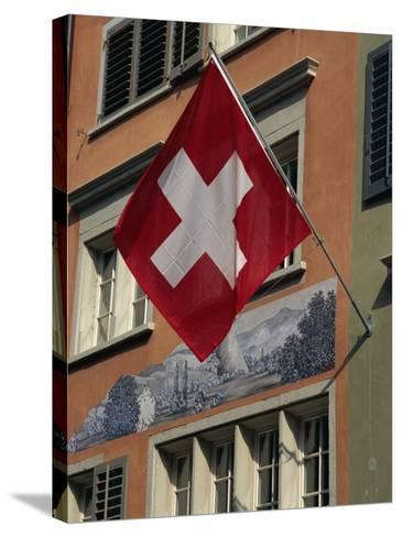 Swiss Flag, Zurich Old Town, Switzerland, Europe-Thouvenin Guy-Stretched Canvas Print