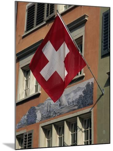 Swiss Flag, Zurich Old Town, Switzerland, Europe-Thouvenin Guy-Mounted Photographic Print