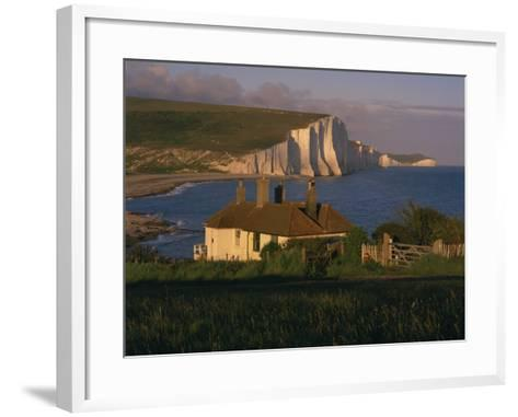 Houses on Seaford Head Overlooking the Seven Sisters, East Sussex, England, United Kingdom, Europe-Tomlinson Ruth-Framed Art Print
