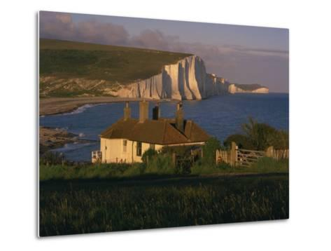 Houses on Seaford Head Overlooking the Seven Sisters, East Sussex, England, United Kingdom, Europe-Tomlinson Ruth-Metal Print