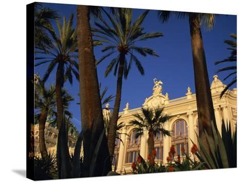 Casino Framed by Flowers and Palm Trees in Monte Carlo, Monaco, Europe-Tomlinson Ruth-Stretched Canvas Print