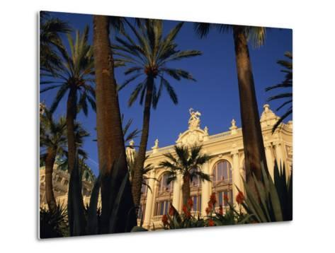 Casino Framed by Flowers and Palm Trees in Monte Carlo, Monaco, Europe-Tomlinson Ruth-Metal Print