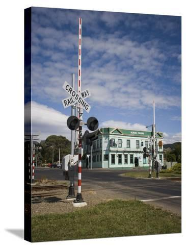 Railway Crossing, Shannon, Manawatu, North Island, New Zealand, Pacific-Smith Don-Stretched Canvas Print