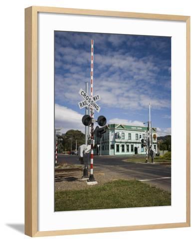 Railway Crossing, Shannon, Manawatu, North Island, New Zealand, Pacific-Smith Don-Framed Art Print