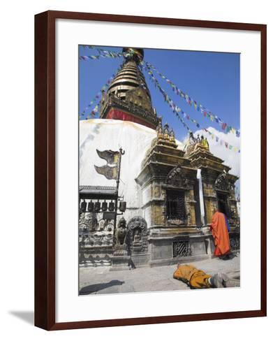 Swayambhunath Stupa, UNESCO World Heritage Site, Kathmandu, Nepal-Jane Sweeney-Framed Art Print