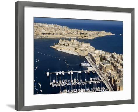 Aerial View of St. Angelo Fort in Vittoriosa in Front of Valletta, Malta, Mediterranean-Tondini Nico-Framed Art Print