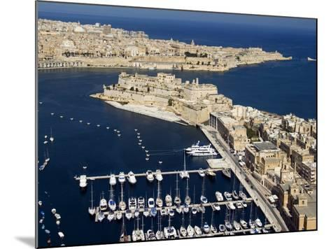 Aerial View of St. Angelo Fort in Vittoriosa in Front of Valletta, Malta, Mediterranean-Tondini Nico-Mounted Photographic Print