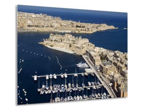 Aerial View of St. Angelo Fort in Vittoriosa in Front of Valletta, Malta, Mediterranean-Tondini Nico-Metal Print