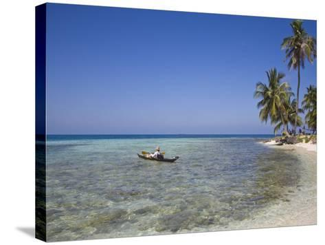Tourist in Sea Cayak, Silk Caye, Belize, Central America-Jane Sweeney-Stretched Canvas Print