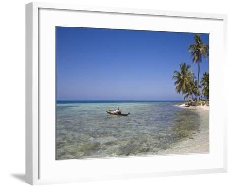 Tourist in Sea Cayak, Silk Caye, Belize, Central America-Jane Sweeney-Framed Art Print