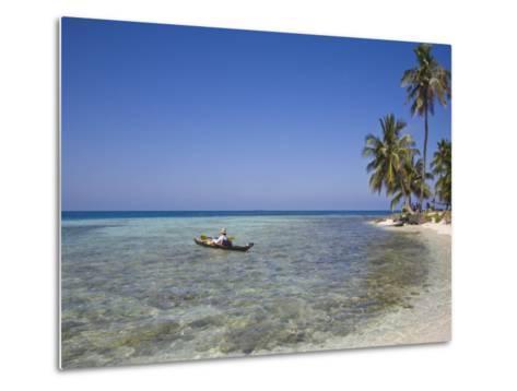Tourist in Sea Cayak, Silk Caye, Belize, Central America-Jane Sweeney-Metal Print