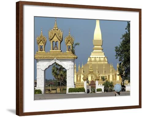 That Luang Stupa, Largest in Laos, Built 1566 by King Setthathirat, Vientiane, Laos, Southeast Asia-De Mann Jean-Pierre-Framed Art Print