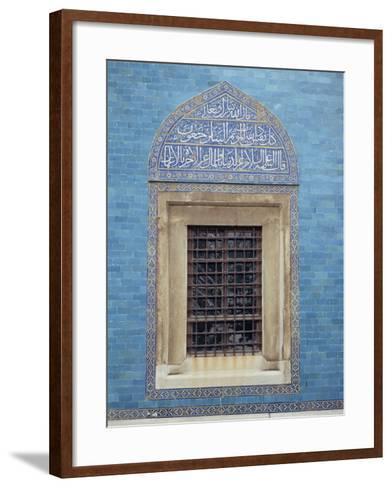 Detail of Window with Arabic Script on Tilework Above, Green Mosque in Bursa, Anatolia, Turkey-Woolfitt Adam-Framed Art Print