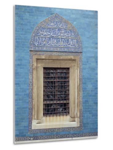 Detail of Window with Arabic Script on Tilework Above, Green Mosque in Bursa, Anatolia, Turkey-Woolfitt Adam-Metal Print