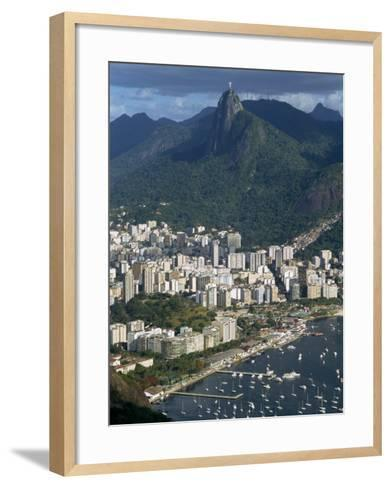 Corcovado Mountain and the Botafogo District of Rio De Janeiro from Sugarloaf Mountain, Brazil-Waltham Tony-Framed Art Print