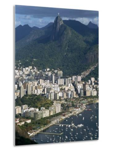 Corcovado Mountain and the Botafogo District of Rio De Janeiro from Sugarloaf Mountain, Brazil-Waltham Tony-Metal Print
