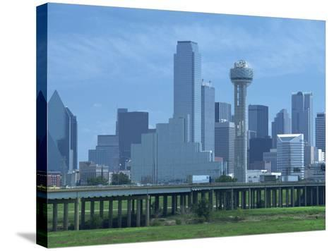 Bridge over the Dallas River Floodplain, and Skyline of the Downtown Area, Dallas, Texas, USA-Waltham Tony-Stretched Canvas Print