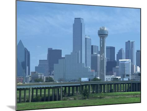 Bridge over the Dallas River Floodplain, and Skyline of the Downtown Area, Dallas, Texas, USA-Waltham Tony-Mounted Photographic Print
