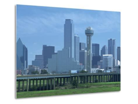 Bridge over the Dallas River Floodplain, and Skyline of the Downtown Area, Dallas, Texas, USA-Waltham Tony-Metal Print