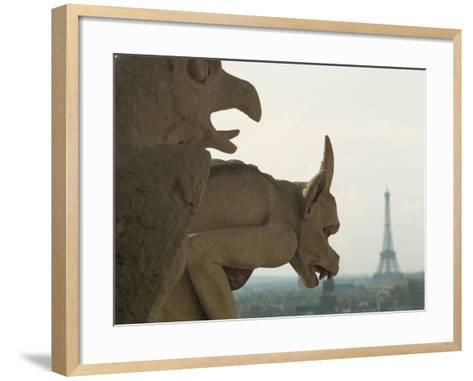 Gargoyles on Notre Dame Cathedral, and Beyond, the Eiffel Tower, Paris, France, Europe-Woolfitt Adam-Framed Art Print
