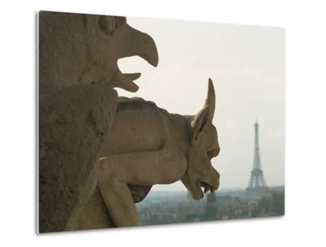 Gargoyles on Notre Dame Cathedral, and Beyond, the Eiffel Tower, Paris, France, Europe-Woolfitt Adam-Metal Print