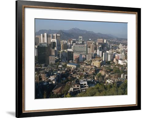 City Centre Tower Blocks Seen from Namsan Park with Pukansan Hills Beyond, Seoul, South Korea-Waltham Tony-Framed Art Print