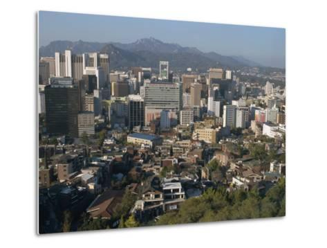 City Centre Tower Blocks Seen from Namsan Park with Pukansan Hills Beyond, Seoul, South Korea-Waltham Tony-Metal Print