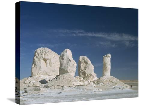 Isolated Chalk Towers, Remnants of Karst, Farafra Oasis, White Desert, Western Desert, Egypt-Waltham Tony-Stretched Canvas Print