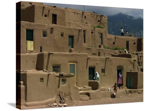 Adobe Buildings of Taos Pueblo, Dating from 1450, UNESCO World Heritage Site, New Mexico, USA-Woolfitt Adam-Stretched Canvas Print