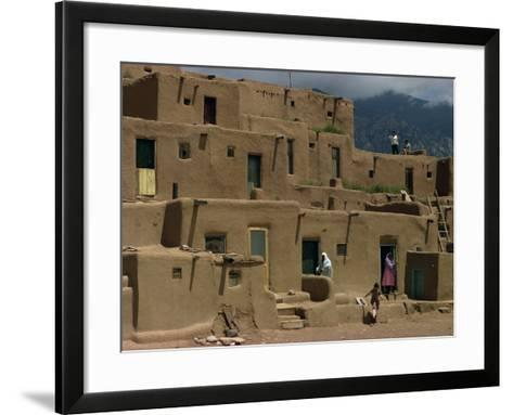 Adobe Buildings of Taos Pueblo, Dating from 1450, UNESCO World Heritage Site, New Mexico, USA-Woolfitt Adam-Framed Art Print