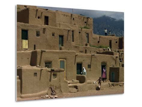 Adobe Buildings of Taos Pueblo, Dating from 1450, UNESCO World Heritage Site, New Mexico, USA-Woolfitt Adam-Metal Print