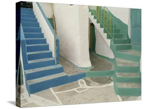 Detail of Painted Blue and Green Steps on Ios, Cyclades Islands, Greek Islands, Greece, Europe-Woolfitt Adam-Stretched Canvas Print