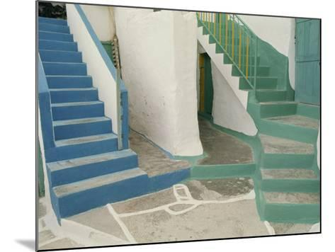 Detail of Painted Blue and Green Steps on Ios, Cyclades Islands, Greek Islands, Greece, Europe-Woolfitt Adam-Mounted Photographic Print