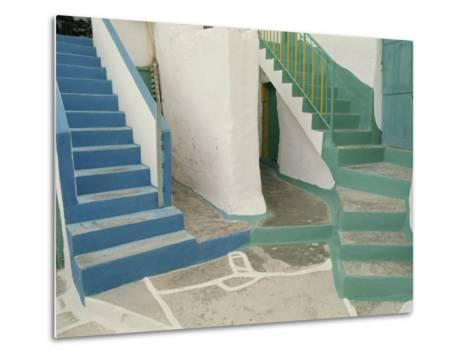 Detail of Painted Blue and Green Steps on Ios, Cyclades Islands, Greek Islands, Greece, Europe-Woolfitt Adam-Metal Print