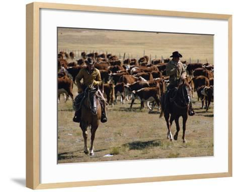 Two Cowboys on Horseback, Cattle Ranching, New Mexico, United States of America, North America-Woolfitt Adam-Framed Art Print
