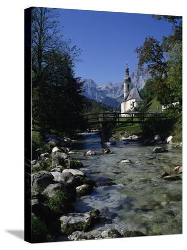 River Running Past the Church in Ramsau, Near Berchtesgaden, Bavaria, Germany, Europe-Hans Peter Merten-Stretched Canvas Print