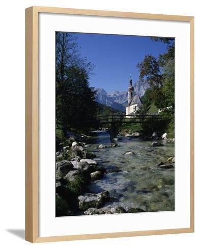 River Running Past the Church in Ramsau, Near Berchtesgaden, Bavaria, Germany, Europe-Hans Peter Merten-Framed Art Print
