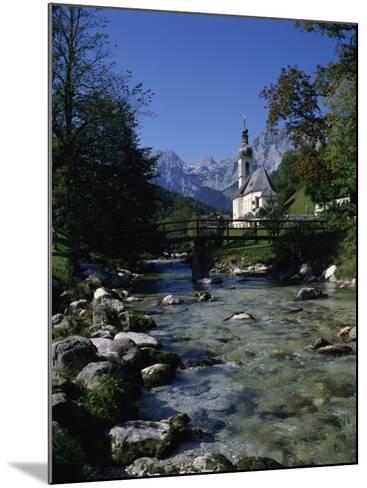 River Running Past the Church in Ramsau, Near Berchtesgaden, Bavaria, Germany, Europe-Hans Peter Merten-Mounted Photographic Print