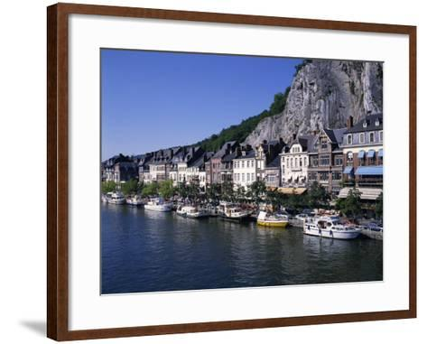 Boats Line the Waterfront on the River Meuse in the Old Town of Dinant in the Ardennes, Belgium-Hans Peter Merten-Framed Art Print