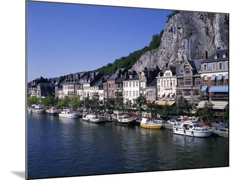 Boats Line the Waterfront on the River Meuse in the Old Town of Dinant in the Ardennes, Belgium-Hans Peter Merten-Mounted Photographic Print