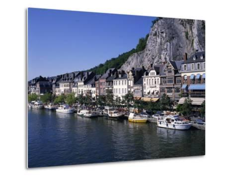 Boats Line the Waterfront on the River Meuse in the Old Town of Dinant in the Ardennes, Belgium-Hans Peter Merten-Metal Print