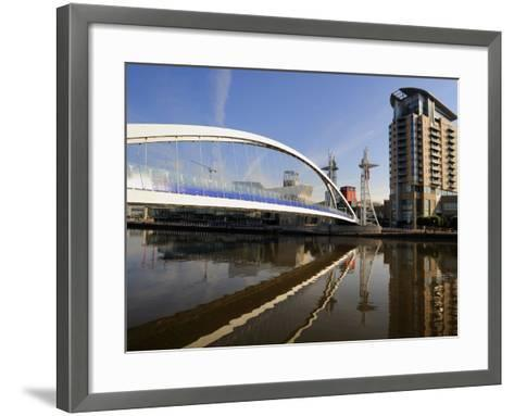 Lowry Bridge over the Manchester Ship Canal, Salford Quays, Greater Manchester, England, UK-Richardson Peter-Framed Art Print