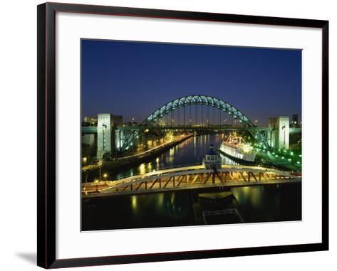 Tyne Bridge Illuminated at Night, Tyne and Wear, England, United Kingdom, Europe--Framed Art Print