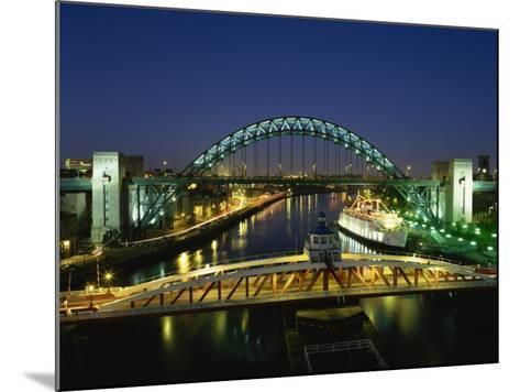 Tyne Bridge Illuminated at Night, Tyne and Wear, England, United Kingdom, Europe--Mounted Photographic Print