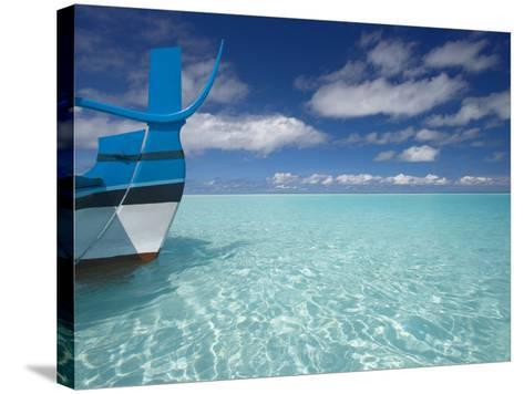 Bow of Boat in Shallow Water, Maldives, Indian Ocean-Papadopoulos Sakis-Stretched Canvas Print