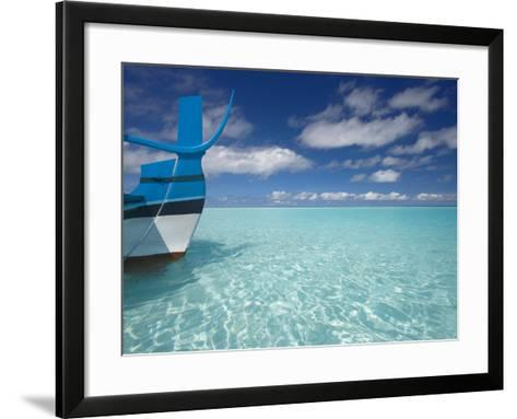 Bow of Boat in Shallow Water, Maldives, Indian Ocean-Papadopoulos Sakis-Framed Art Print